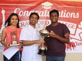 Thejal Naidoo, Kevalin Sahaye and Darshan Govender with their accolades.