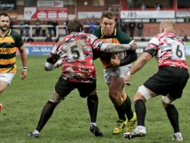 South Africa Rugby Legend's forward, John Smith powers through the Gloucester Rugby Heroes defence in his team's 12-10 win. PHOTO: Howard Cleland