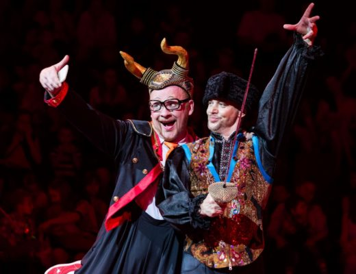 The Great Moscow Circus clown duo of Vasili 'Vas' Trifonov (left) and Stanislav 'Stas' Knyazkov.