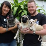 Storm Veronie and Andre Botha with Georgie, Peanut and Aja urge residents to get involved in a fundraiser for Pug Rescue SA this Saturday.