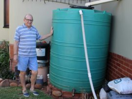Durban North resident, Johan van den Berg, has three JoJo tanks which he bought several years ago. He would like to see the City or Umgeni Water subsidise water tanks for domestic use.