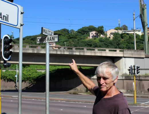 Chairman of the Greenwood Park CPF shows the mistake on the corner of Chris Hani (North Coast Road) and Malacca Road.