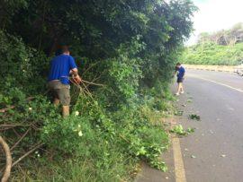 uMhlanga ward councillor, Heinz de Boer and Durban North councillor, Shaun Ryley cut back the dense vegetation.