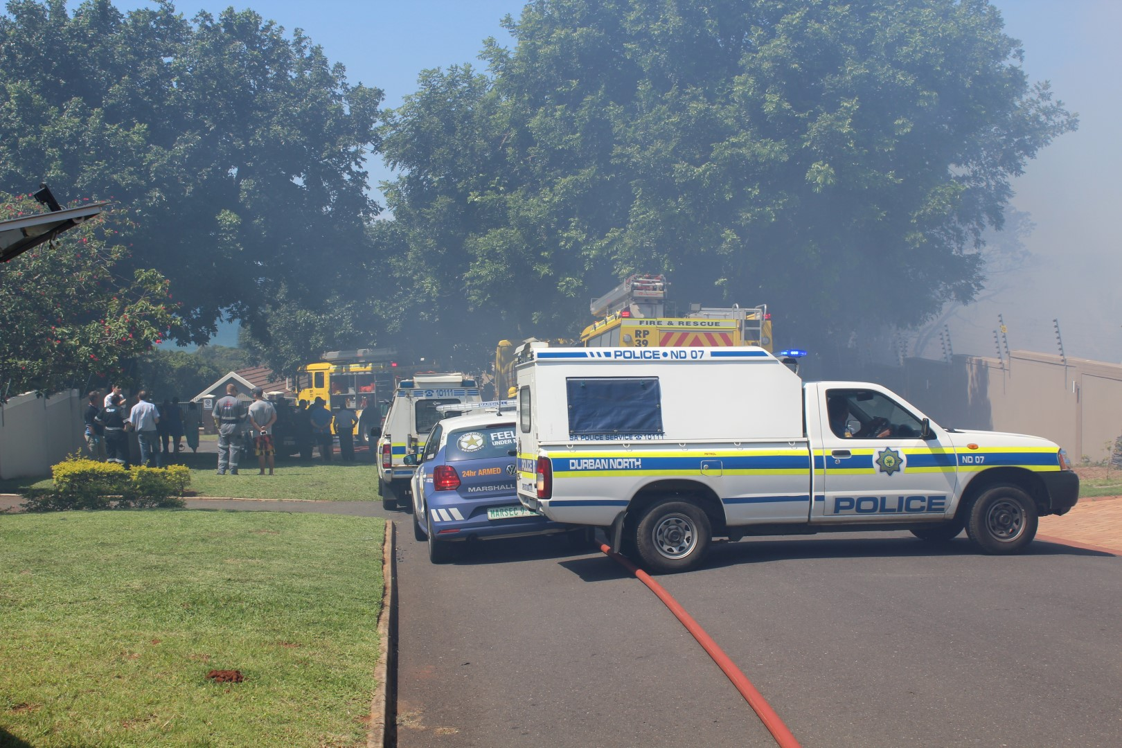 Impala Crescent was closed while firefighters battled the blaze.