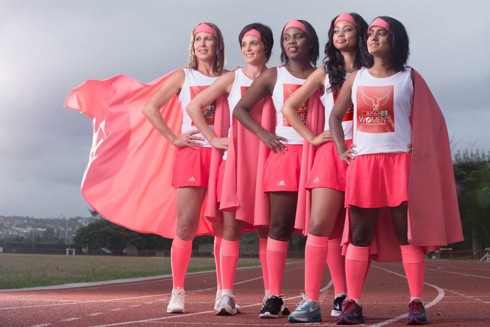 """Women of all ages and from all walks of life getting their """"Super Hero"""" on ahead of this year's Durban SPAR Women's 10/5km is Maryam Leeuw, Melicia Benades, Nolwazi Magwaza, Amanda Jingela and Varetia Pillay. PHOTO: Val Adamson"""