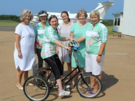 Michelene Locke, Karin Mann, Samantha du Preez, Carol du Preez, Janine White and Tanya Mann of the Boys Can't Come (BCC) cycling club have reached out to the victim of an attempted robbery on the M4 walkway bridge recently.