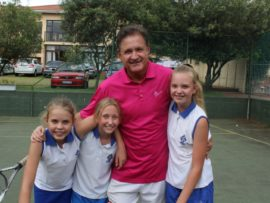 Our Lady of Fatima learners, Hannah van den Berg, Mila van Niekerk and Courtney Ackhurst with coach Vic Puncec.
