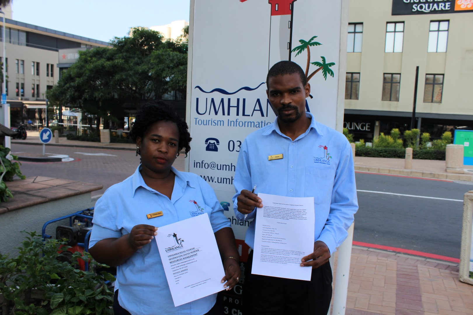 Nonhlanhla Shazi and Sabelo Didi of Umhlanga Tourism show the fake contracts the scam artists are using.