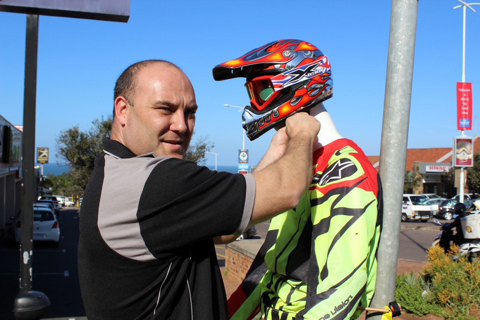 Gareth Moir says he is furious after the theft of Manny's helmet. He now has a replacement which has been strapped tightly to the mannequin.