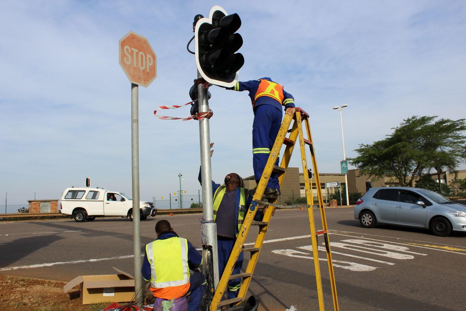 Image result for installation of traffic lights