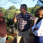Ward councillor Pete Graham speaks to frustrated residents about a way forward.