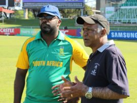 Head coach of the KwaZulu-Natal blind cricket team, Desigan Pillay (left) discusses tactic with the founding member of the association Shane Mahabeer.