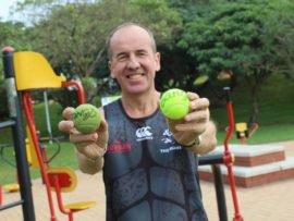uMhlanga's Myles Buxton ran this year's Comrades Marathon up-run by bouncing a tennis ball to raise funds for charity. He dropped the ball on the left three times over the course. The winner of this year's race, Bongmusa Mthembu signed the balls.