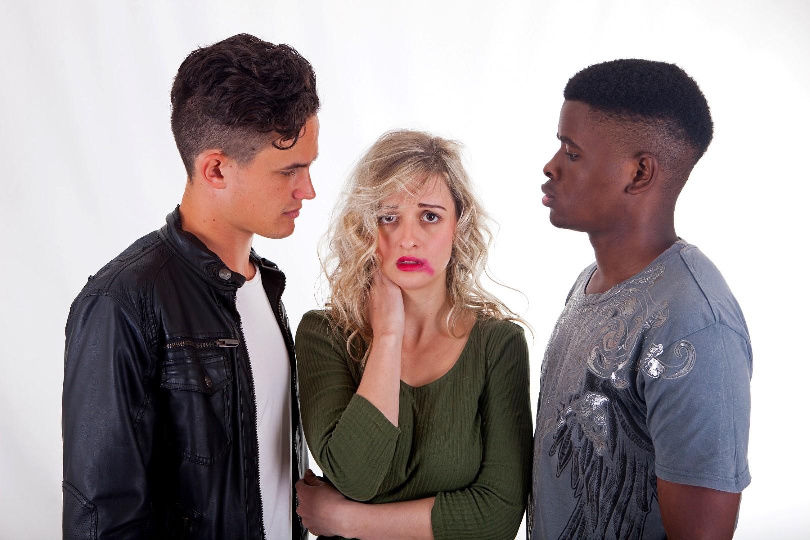 In a scene from Trafficked, Edward Arderne, Anita Scholtz and Hlengi Qepsimani.