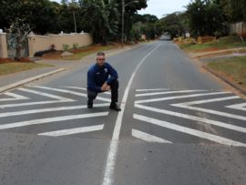 Ward 110 councillor Pete Graham shows one of four speed humps that were installed on the wrong section of Glen Anil Street.