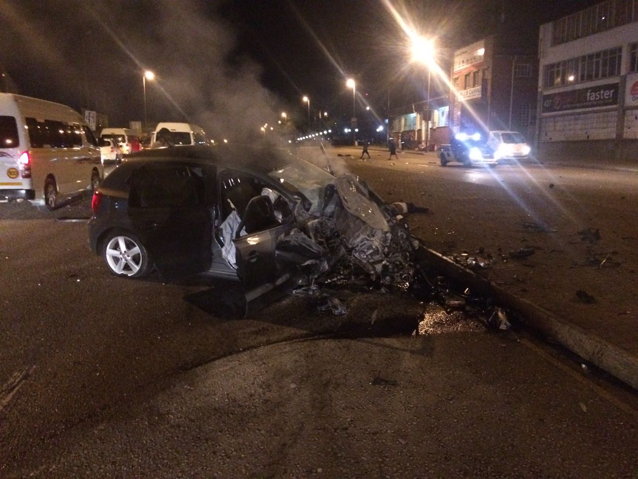 The vehicle collided head-on with a taxi. PHOTO: Crisis Medical