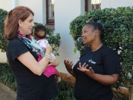 Sandy Hamblin (project leader) and Precious Thabethe (house mother) discuss how the theft of the Domino Foundation Babies' Home vehicle has affected them.