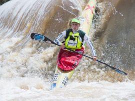 Jenna Ward and Anna Kožíšková won the women's Fish River Canoe Marathon title on Saturday. PHOTO: Anthony Grote
