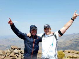 Former Springbok skipper John Smit (right) celebrated reaching the summit of the Rhino Peak with event organiser Spurg Flemington at the Rhino Peak Challenge on World Rhino Day on 22 September. PHOTO: Supplied