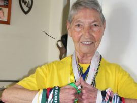 82-year old Tafta resident Hester Bekker displaying her medal collection.