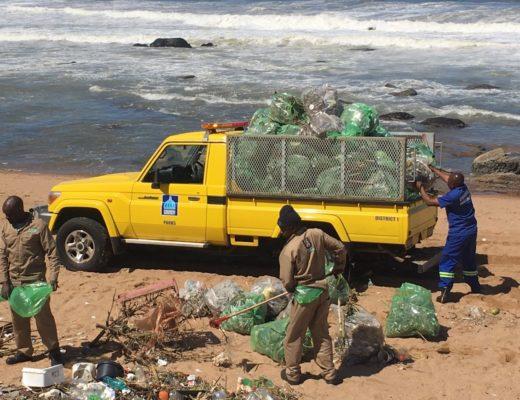 Municipal officials were hard at work restoring uMhlanga Beach following yesterday's deadly storm. PHOTO: Chris Louw