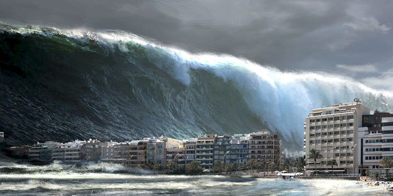 what causes a mega tsunami image collections