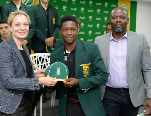 KwaZulu-Natal's Andile Mokgane receives his SA Under 19 World Cup cap from Michelle Cloete (Head of Marketing Coca-Cola South Africa) and Interim CSA CEO Thabang Moroe ahead of the 2018 ICC U19 World Cup in New Zealand next month. PHOTO: Sydney Seshibedi/Gallo Images