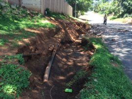 The burst pipe has damaged a section of Ryde Place which poses a danger to motorists using the narrow road.