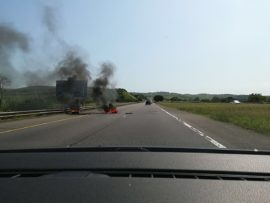 Some of the unhappy residents have placed burning tyres across the N2 freeway. PHOTO: WhatsApp