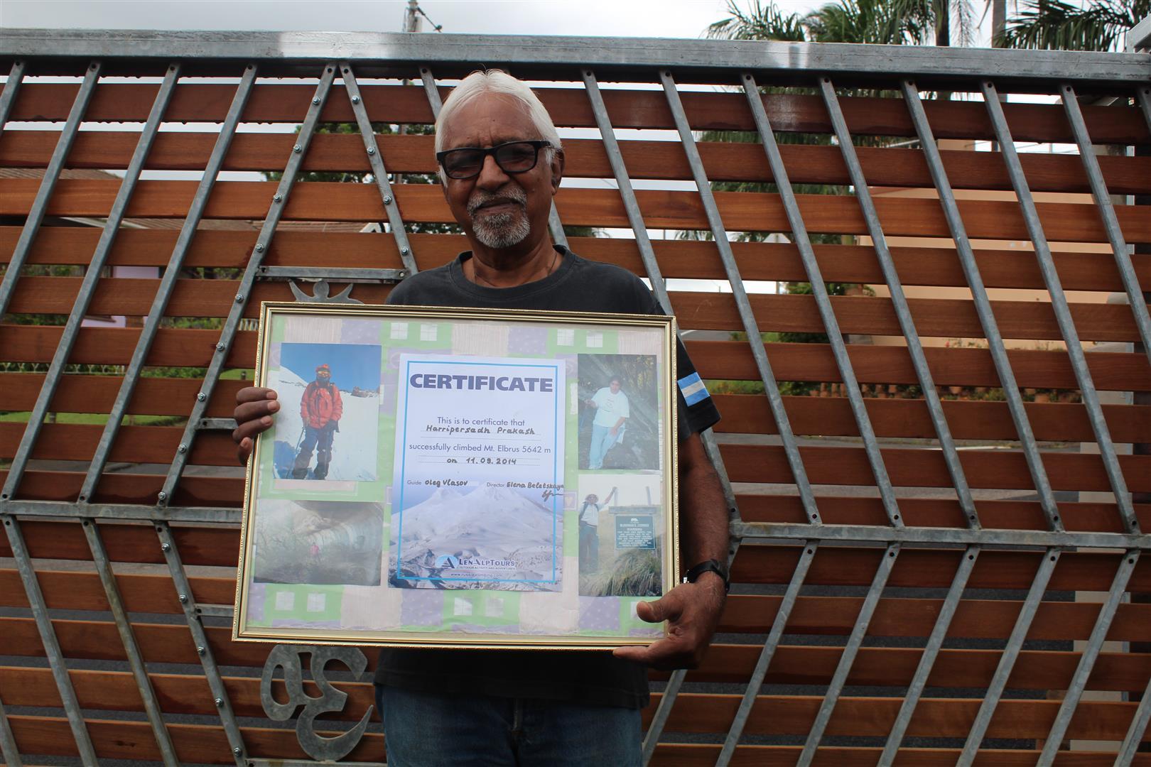73 year old Prakash Harripersadh, has summited seven international mountains including Mount Kilamajaro.