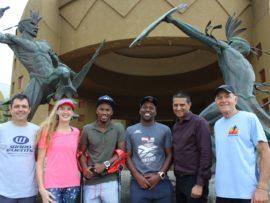 Dave Ward, Heidi Dinan, Mhlengi Gwala, Sandile Shange, Robbie Naidoo and Buzz Bolton urge residents to get behind the The Sibaya King Shaka Trail Run on 26 August.