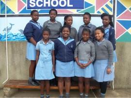 The  U13 volleyball team (back, from left) Nomonde Nzimande, Thandokazi Nkunjana, Thandeka Rolando, Siyasanga Sosibo, Noluthando Ndlovu, (front) Yvonne Mgedezi, Anele Cele, Noluthando Thusi and Mamela Nyandeni.