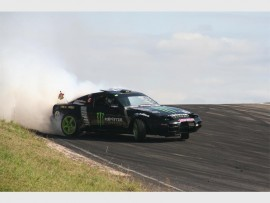 Burning rubber: Jason Webb races to the finish line. 2317vee