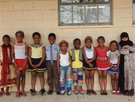 Merlewood Primary pupils (from left) Athi Miya, Anita Zulu, Anelisa Nhlumayo, Tyler Dickens, Sbongakonke Noxhaka, Siyabonga Mkhize, Sinhle Mvundla, Taslynn Damas, Sthokozile Gumede and Sharifa Minnie celebrate Heritage Day.