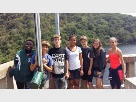Grade 7 pupils from Port Edward Primary (from left) Lethu Ndlovu, John Douglas Hattingh, Christopher Abbott, Gillon van Rooyen, Ethan Scorer, Jessica Hessler and Chane Filgate stayed at the Spirit of Adventure in Shongweni.