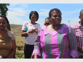 Communications Minister Faith Muthambi arrives at  Exhamini in Harding.