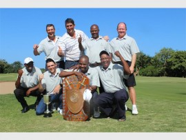 Champions again: Southern Kzn celebrate winning the Country Districts Interzone tournament held at Port Shepstone Country Club last weekend. The players are (back, from left) Jan McDermott, Gavin Sole (captain), Robert Mavundla, Gary Purtell; (front) Victor Mbhele, Graham Fabricius, Elvis Khawula and Patrick Mavundla.