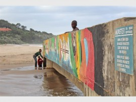 A small sign on a walk-way bridge over Glenmore beach lagoon warns people of bilharzia parasites.