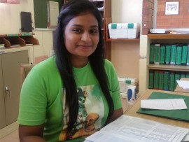 Welcome: Ashleigh Naidoo has been appointed new administration clerk at Jai Hind Primary.