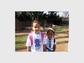 Outdoor excursion: PSP gr 2 pupils Bevhika Boodhram (left) and Athabe Mkhungo enjoy learning about reptiles at Crocworld in Scottburgh.