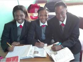 Budding actresses: Hibberdene Academy gr 7 pupils (from left) Amahle Cele, Mpumi Mzimela and Owethu Sibiya work on their film studies.