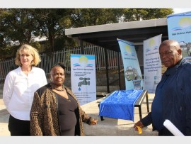 Unveiling the plaque at the Ugu leak detection testing rig control room launch held at Marburg last Friday are (from left) Department of Water and Sanitation director, Angela Masefield, Ugu mayor Ntombifikile Gumede and Ugu Cllr Ian Mavundla.