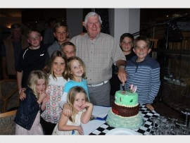 Tony Westoby turns 70, surrounded by boys (from left) Tristan Blake, Dylan Westoby, William Westoby, Timothy Westoby and Clyde Westoby and girls (from left) Roxy Storm, Rebecca Westoby, Emma Blake and Lily Storm.