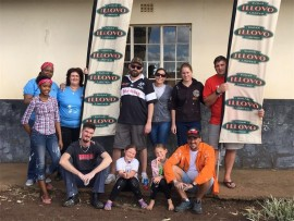 Working together to spruce up rooms at Maris Stella Primary are (back, from left) Sizakele Zuma, Carol van Loggerenberg, Rory Milne, Stacey Milne, Lelanie Prinsloo and Rudi Prinsloo with Nomatemba Zuma, Charl van Loggerenberg, Emily Milne, Addi and Leon Garbade in front.