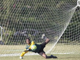 Great save: PSHS goalkeeper Mhla Gaushe saves a vital goal during last week's match against Creston.