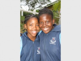 Gaining experience: Southcity Christian School pupils Somila Manciya (left) and Ongie Mlandu played really well against strong opposition at the interschool sports day last Saturday. 0926vee