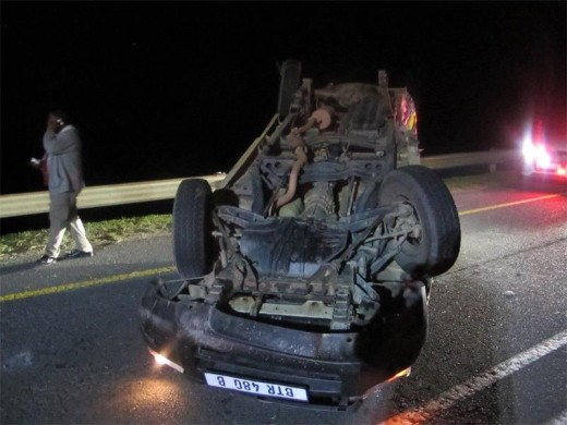 Two policemen were injured and their vehicle damaged in this accident in Hibberdene.