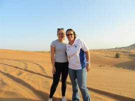 Time out: Samantha Labuschange (left) and coach Mandy Koegelenberg get in some sightseeing while in Dubai and Doha.