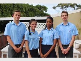 Matthew Pringle (head boy), Daina Pieterse (head girl), Milisa Mahlangeni (deputy head girl) and Liam Erasmus (deputy head boy).