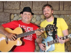 Local muso Oscar Swanlund (left) pictured with visiting artist Dave Starke, will perform  at the 'local is lekker' charity musical.